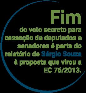 Fim do voto secreto para cassação de deputados e senadores é parte do relatório de Sérgio Souza à proposta que virou a EC 76/2013.